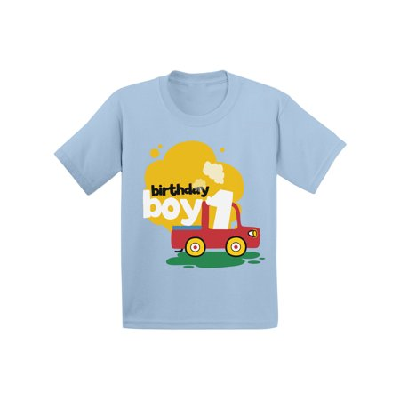 1 Year Old Birthday Party Themes (Awkward Styles Birthday Boy Infant Shirt Toy Truck Tshirt for Baby 1st Birthday Party Truck Gifts for 1 Year Old Baby Boy First Birthday Party Outfit Birthday Shirt for Baby)