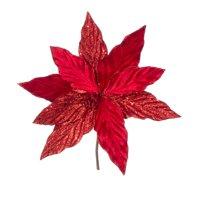Darice Red Velvet Poinsettia Pick with Glitter 11.5 X 11.75 Inches