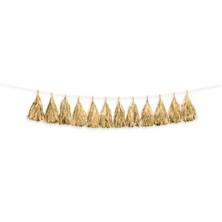 Darice Gold Tissue Tassel Garland, 12 Tassels, 6ft - Gold Garland