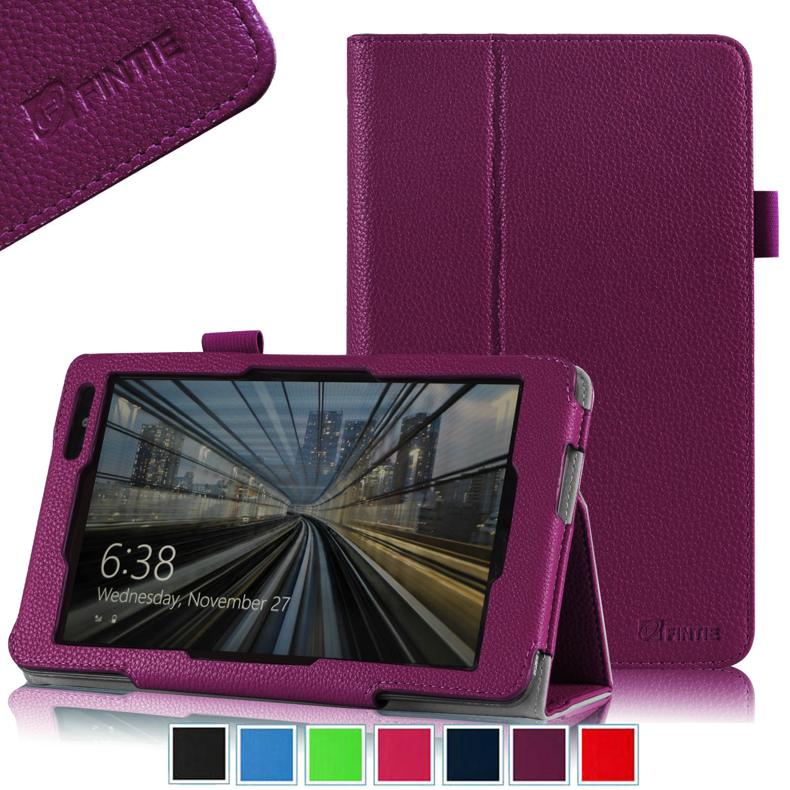 Fintie Dell Venue 8 Pro Tablet (Windows 8.1) Folio Case Slim Fit PU Leather Stand Cover, Purple