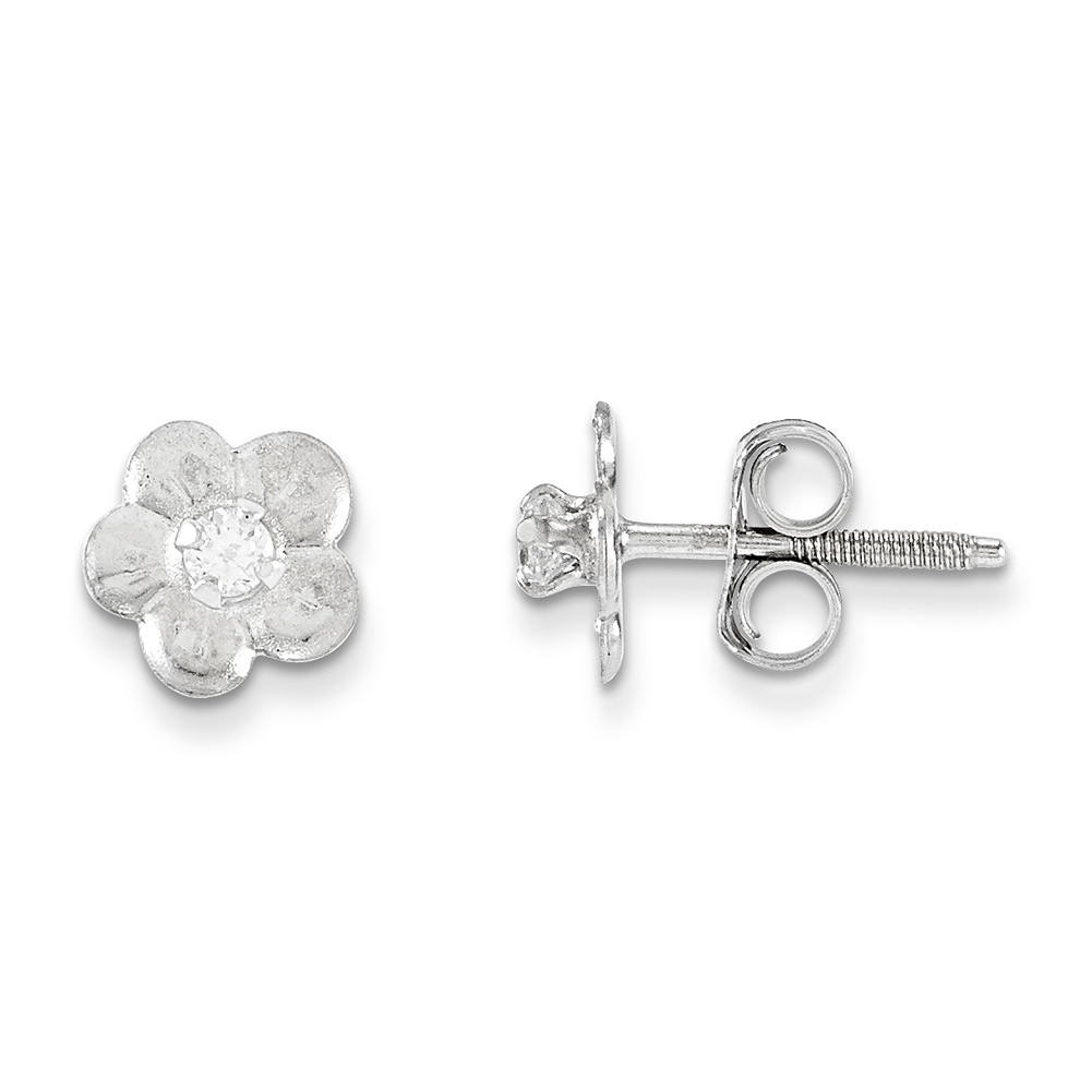 14k White Gold Madi K Flower Earrings GK237