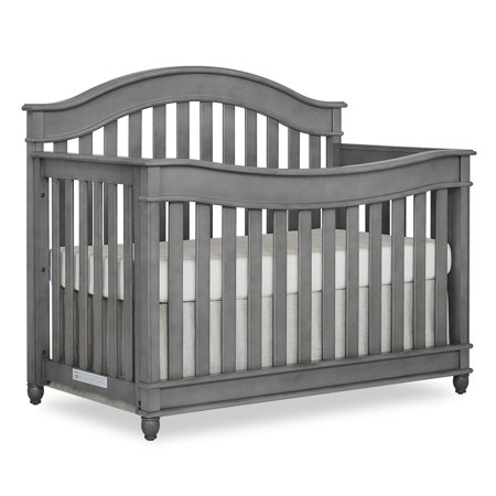 Evolur Hampton 5 in 1 Lifestyle Convertible Crib, Storm Grey ()