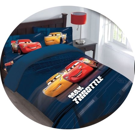 4PC Full Disney Cars MAX THROTTLE Bed Comforter Set With Fitted Sheet ()