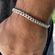 """Men's Real Solid 925 Sterling Silver Miami Cuban Chain Bracelet 8"""" Inch x 6 mm Thick"""