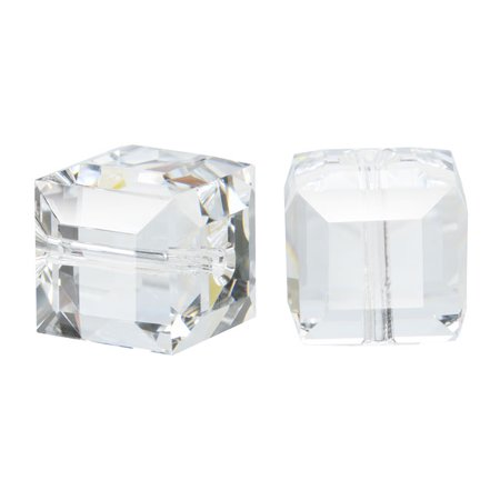 (Swarovski Crystal, #5601 Cube Beads 8mm, 4 Pieces, Crystal)