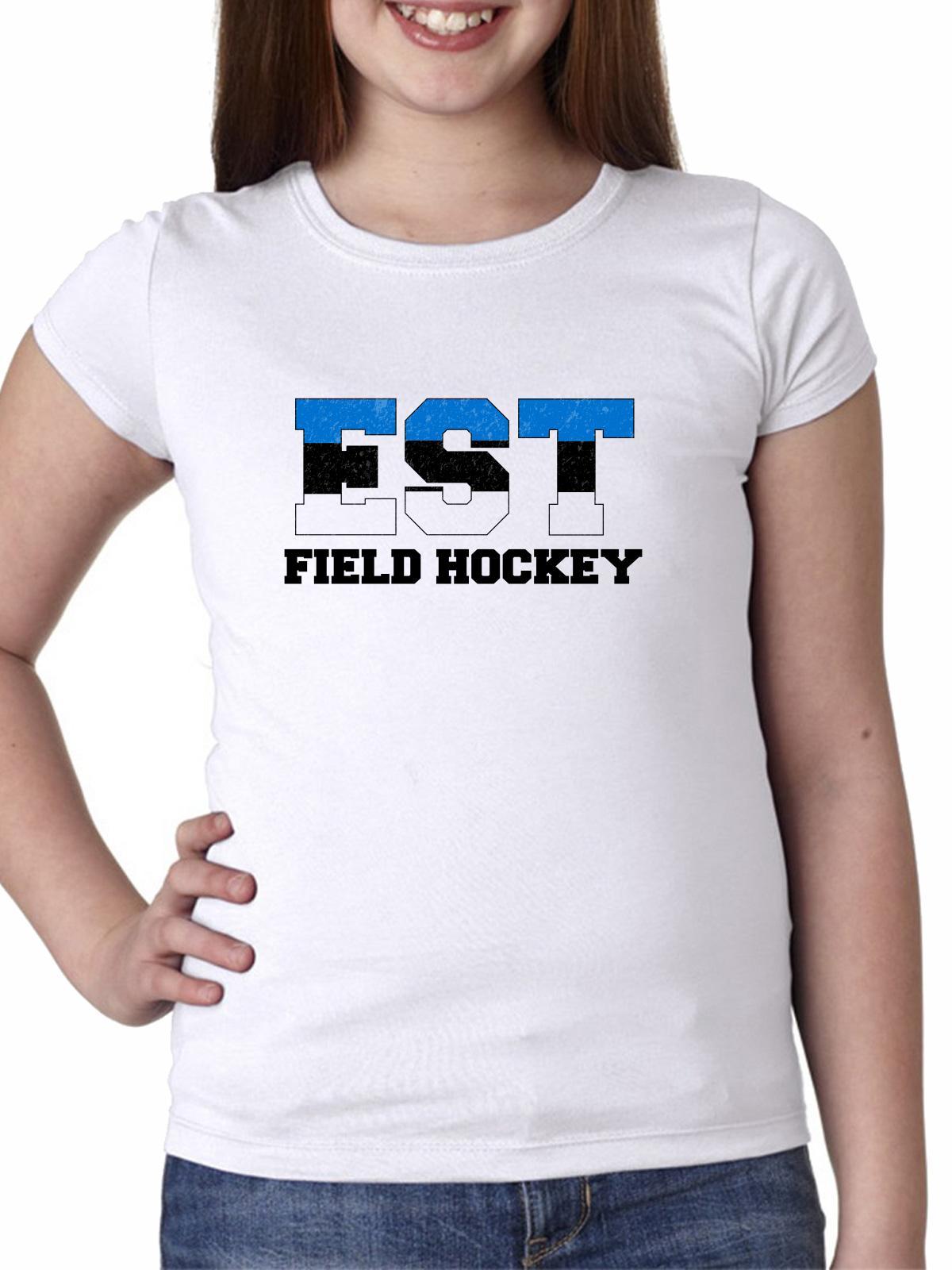 Estonia Field Hockey Olympic Games Rio Flag Girl's Cotton Youth T-Shirt by Hollywood Thread