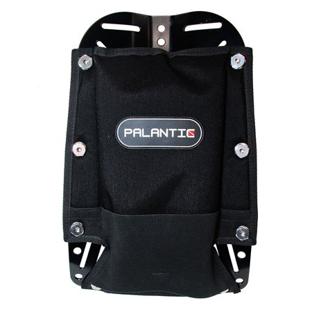 Scuba Tech Diving Aluminum Black Backplate w/ Pad & 8 Bookscrews Combo