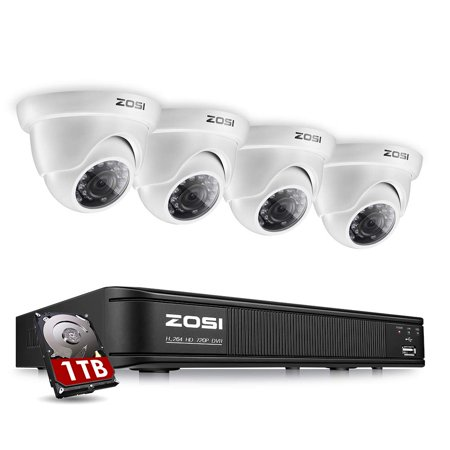 Resistant Color Dome Weatherproof Camera - ZOSI 8-Channel 720p HD-TVI Security Camera System,1080P Lite Video DVR Recorder (1TB HDD Installed) and 4 x 1280TVL Weatherproof Dome Camera Outdoor/Indoor with Day Night Vision