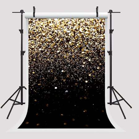 HelloDecor Polyster 5x7ft Golden Backdrop for Pictures Wedding Photography Background Studio Black Photo Booth Backdrop
