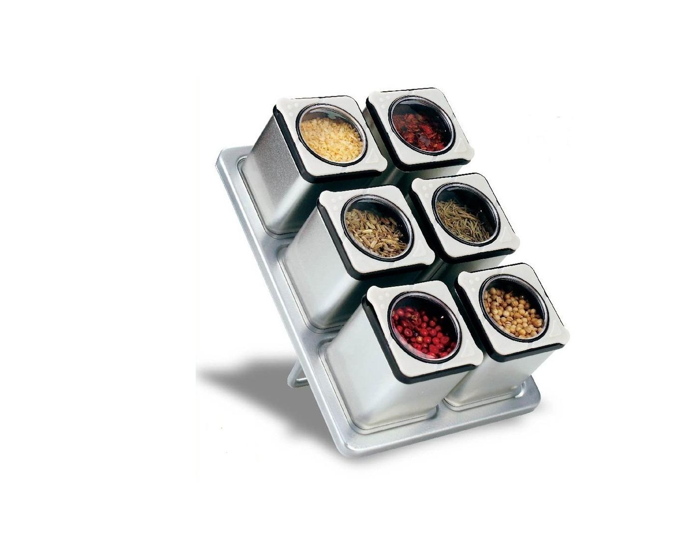 Carteret Home Collection Magnetic Spice Rack With 6 Tin Jars by Unbranded