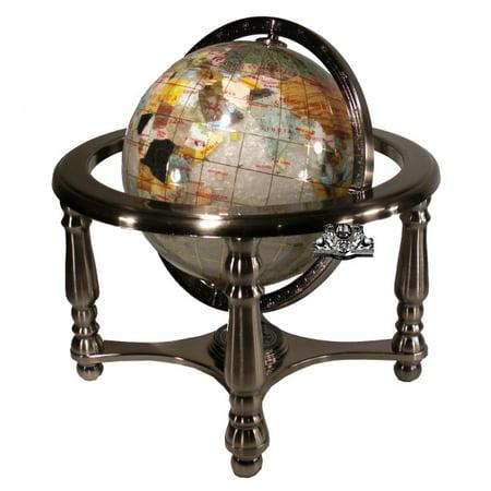 Unique Art 10-Inch Tall Pearl Swirl Ocean Gemstone World Globe with 4 Leg Silver Stand