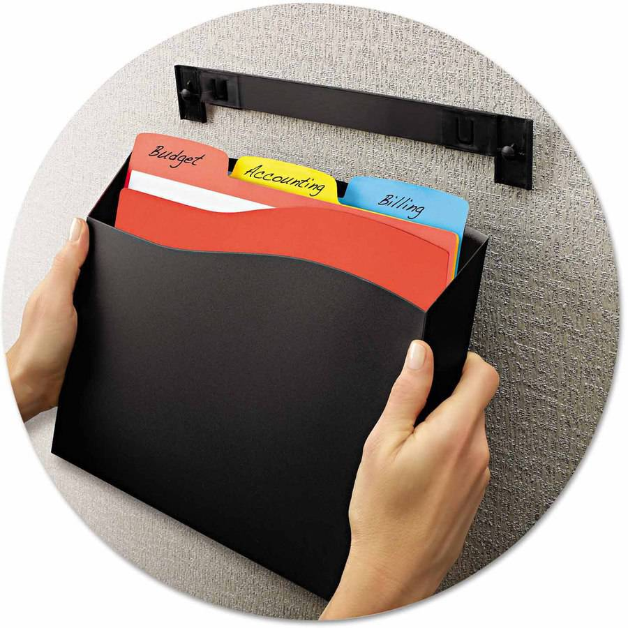 "Avery Cubicle Wall File Pocket, 12-1/2"" x 1-3/8"" x 9-1/2"", Black"