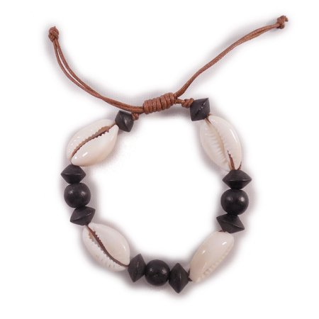Charming Shark Womens Cowrie with Beads Charm Bracelet Adjustable Black