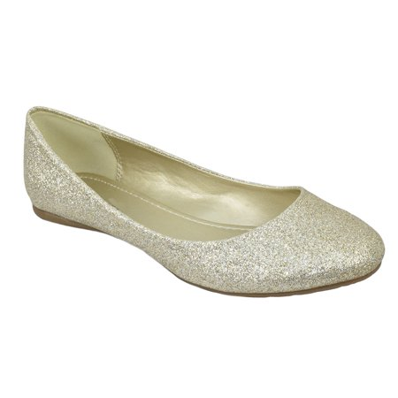 Thesis H Formal Shoes Brand City Classified Women Ballet Flats Basic Slip On Round Toe Champagne Gold Glitter