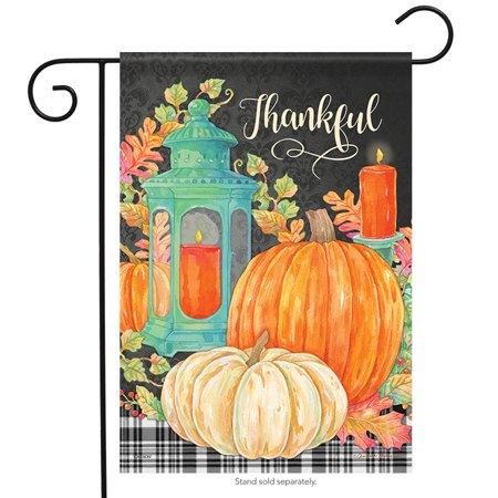 Harvest Lantern Fall Garden Flag Pumpkins Thankful Holiday 2 Sided 12.5