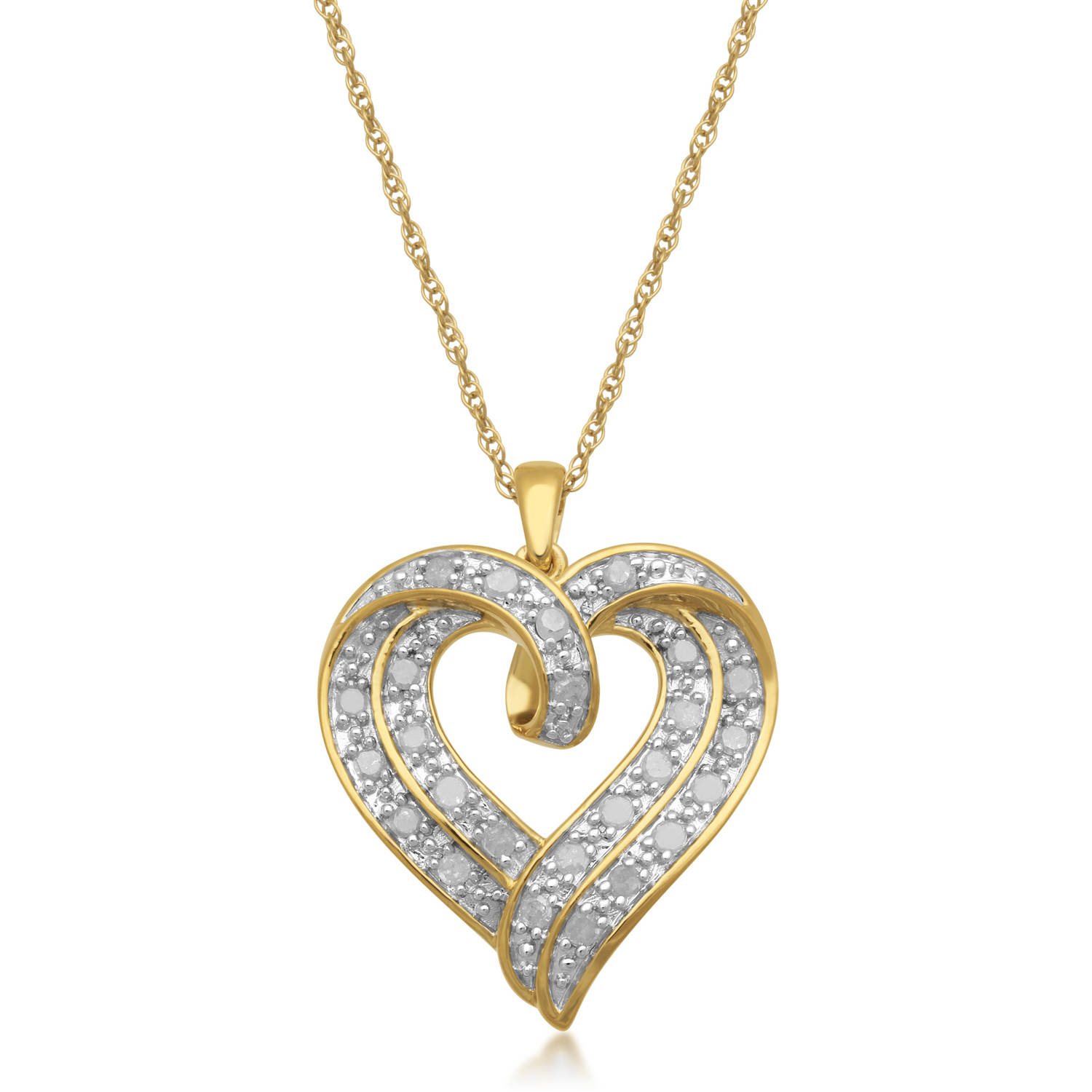 1/2 Carat T.W. White Diamond Heart Pendant in 18kt Yellow Gold over Sterling Silver