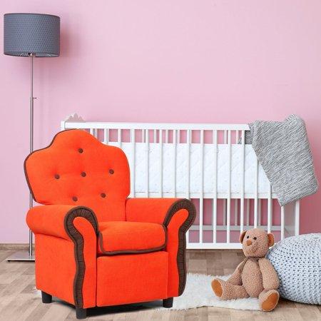 Children Recliner Kids Sofa Chair Couch Living Room Furniture Orange - image 7 de 9