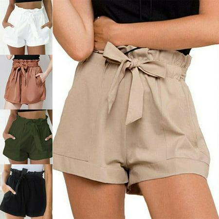 Womens Waist Size - US Womens High Waist Tie Belt Paper Bag Shorts Ladies Summer Hot Pants Size S-XL