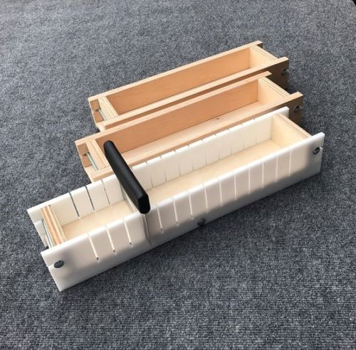 Adjustable Wood Soap Loaf Molds Lot of 2 and Multi Slot Soap Cutter 4 - 5 lbs each Outlasts Silicone