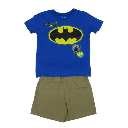Comic Con Outfits (DC Comics Little Boys Royal Blue Khaki Batman Logo 2 Pc Shorts)