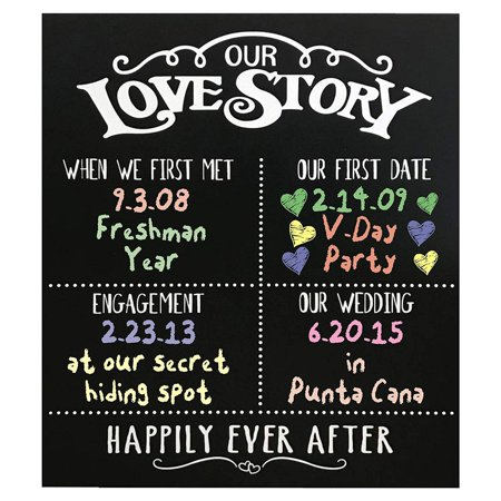 JennyGems - Our Love Story Chalkboard - First Met - First Date - Engagement Party - Wedding - Anniversary - Happily Ever After - Photo Shoot Prop - Dry Chalkboard Use With Actual Dry Chalk - Do Not Us](First Birthday Chalkboard)