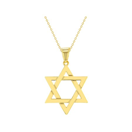 In Season Jewelry 18k Gold Plated Religious Judaism Jewish Star of David Necklace Pendant 18""