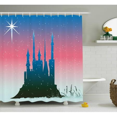 Fantasy Shower Curtain Silhouette Of Medieval Fairytale Castle With Stars On Sky Princess Design Fabric Bathroom Set Hooks Blue Dark Coral