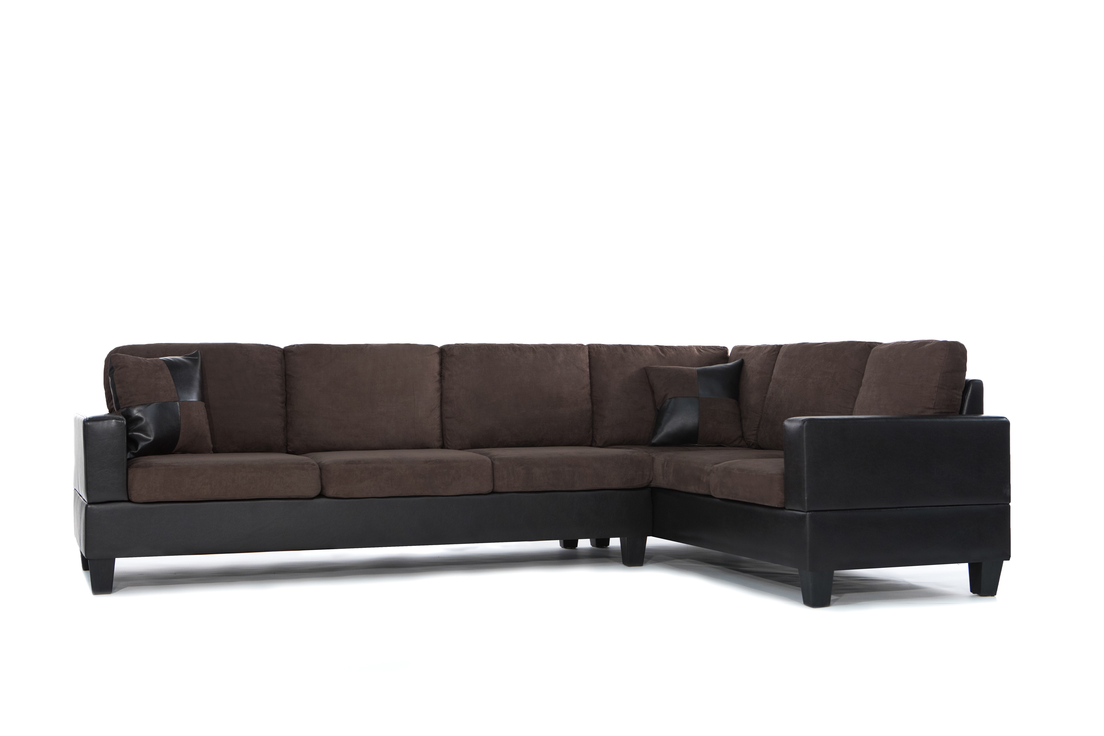 3 Piece Modern Soft Reversible Microfiber And Faux Leather Sectional Sofa  With Ottoman   Walmart.com