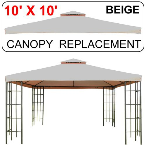 10' X 10' Gazebo Replacement Canopy Top Cover Beige, Double-teir by