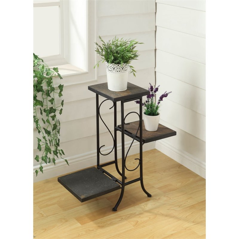 4D Concepts 3 Tier Plant Stand in Slate by 4D Concepts