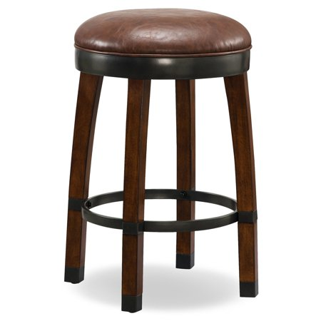 Leick Home 10118SN/SB Wood Cask Stave Counter Height Stool with Faux Leather Seat, Set of 2, Multiple Colors