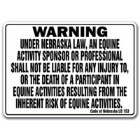 NEBRASKA Equine Sign activity liability warning statute horse farm barn stable