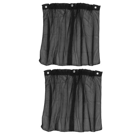 Auto Car Side Window Curtain Folded Mesh Sun Shade Black Pair w Suction Cup ()