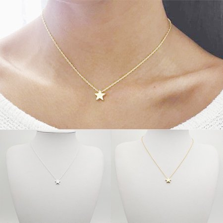 - Girl12Queen Simple Tiny Five Point Star Pendant Women Choker Short Necklace Chain Jewelry