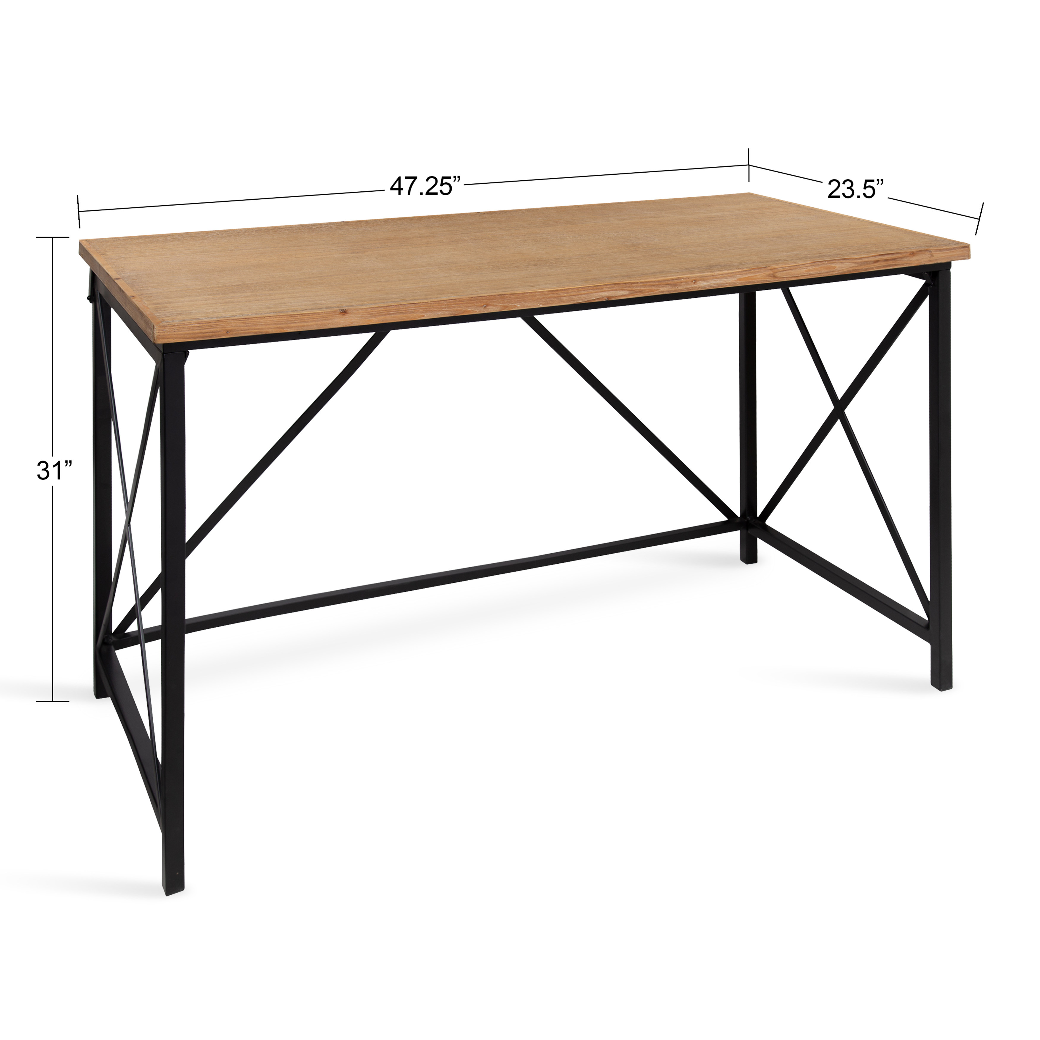 Kate and Laurel Lockridge Industrial Modern Farmhouse Style Wood and Metal  Computer Desk Work or Craft Table, Light Rustic Brown and Black