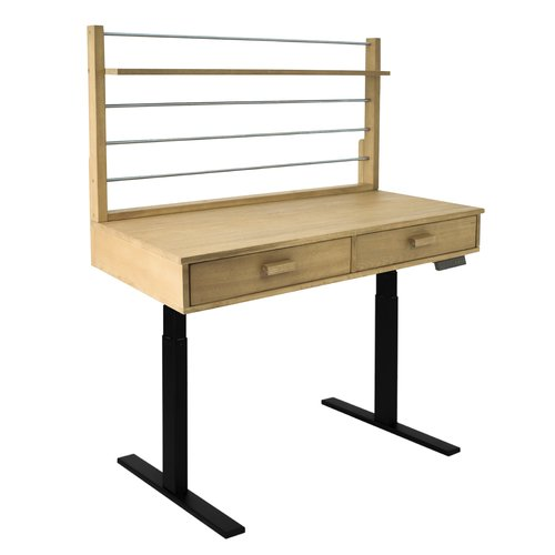 Sit to Stand Adjustable Height Potting Bench with Sand-splashed Finish and Black Frame