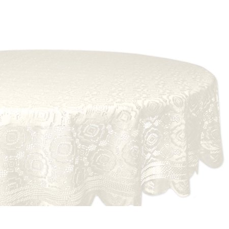 Home Essentials 100% Polyester, Machine Washable, Shabby Chic, Vintage Tablecloth or Overlay 63