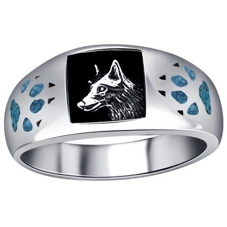 - Men's Sterling Silver Turquoise Gemstone Inlay Wolf with Paw and Claw Southwestern Style Ring