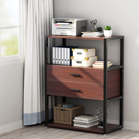 Open Chest (2-Drawer Dresser, LITTLE TREE Vertical Tall Printer Stand with Open Shelf, Works as File Cabinet & Collection Suitable for Home Office, Living Room )