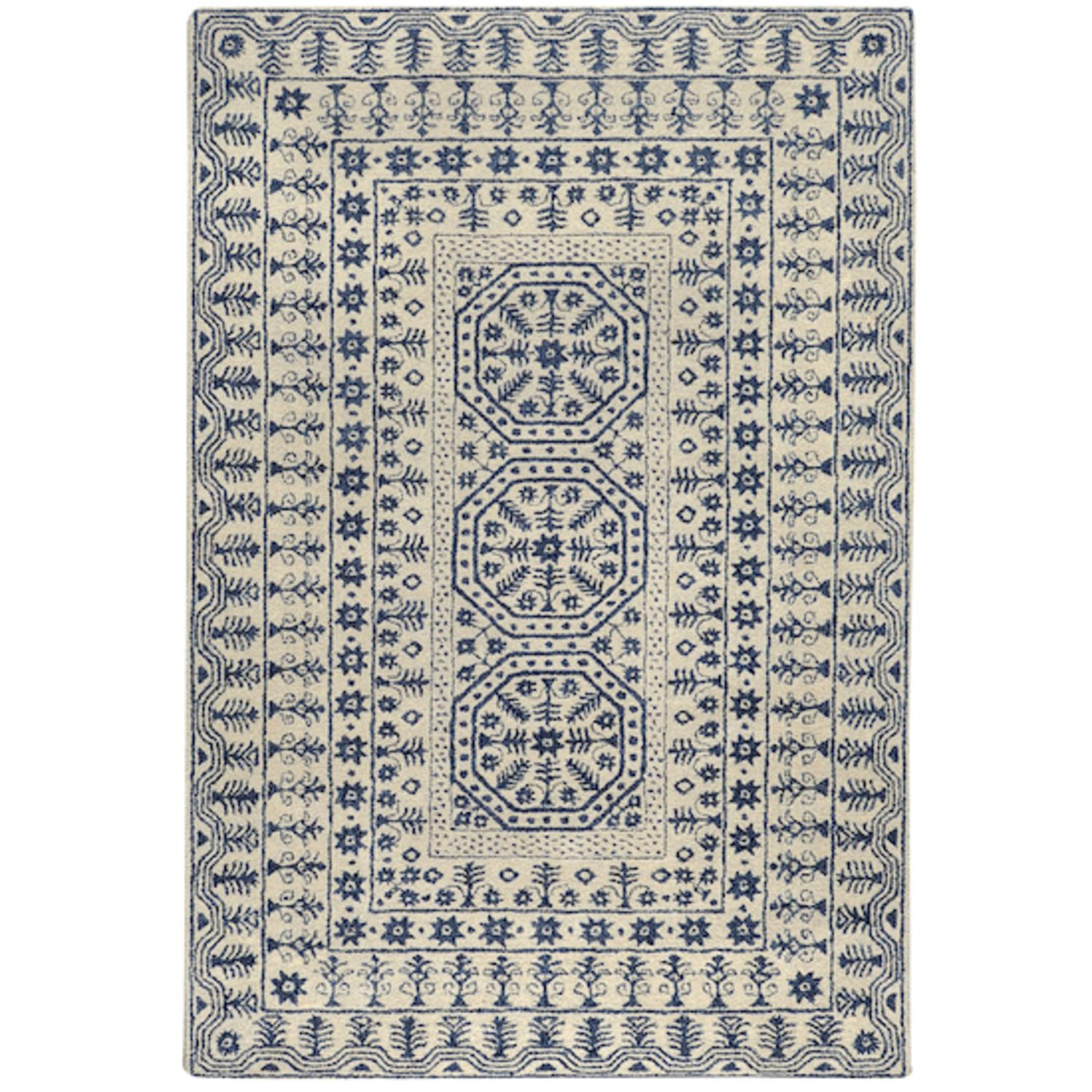 9' x 13' Fields of Joy Navy Blue and Ivory Wool Area Throw Rug