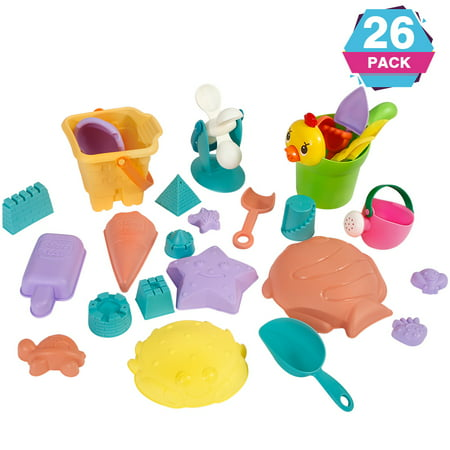 26pcs Beach Sands Toys Set, Sand Toys Set for Kids, Sand Game Tools, Shovels Bucket in Reusable Gift for Kids - Beach Toys And Games