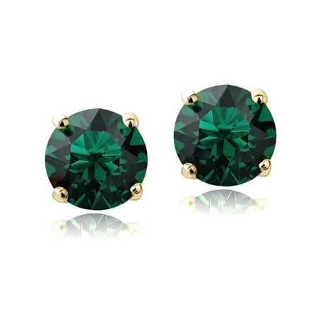 Swarovski Elements Emerald May Birthstone Stud Earrings In Gold Tone