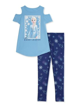 Disney Frozen 2 Exclusive Cold-Shoulder Tee and Legging 2-Piece Outfit Set. Sizes 4-16