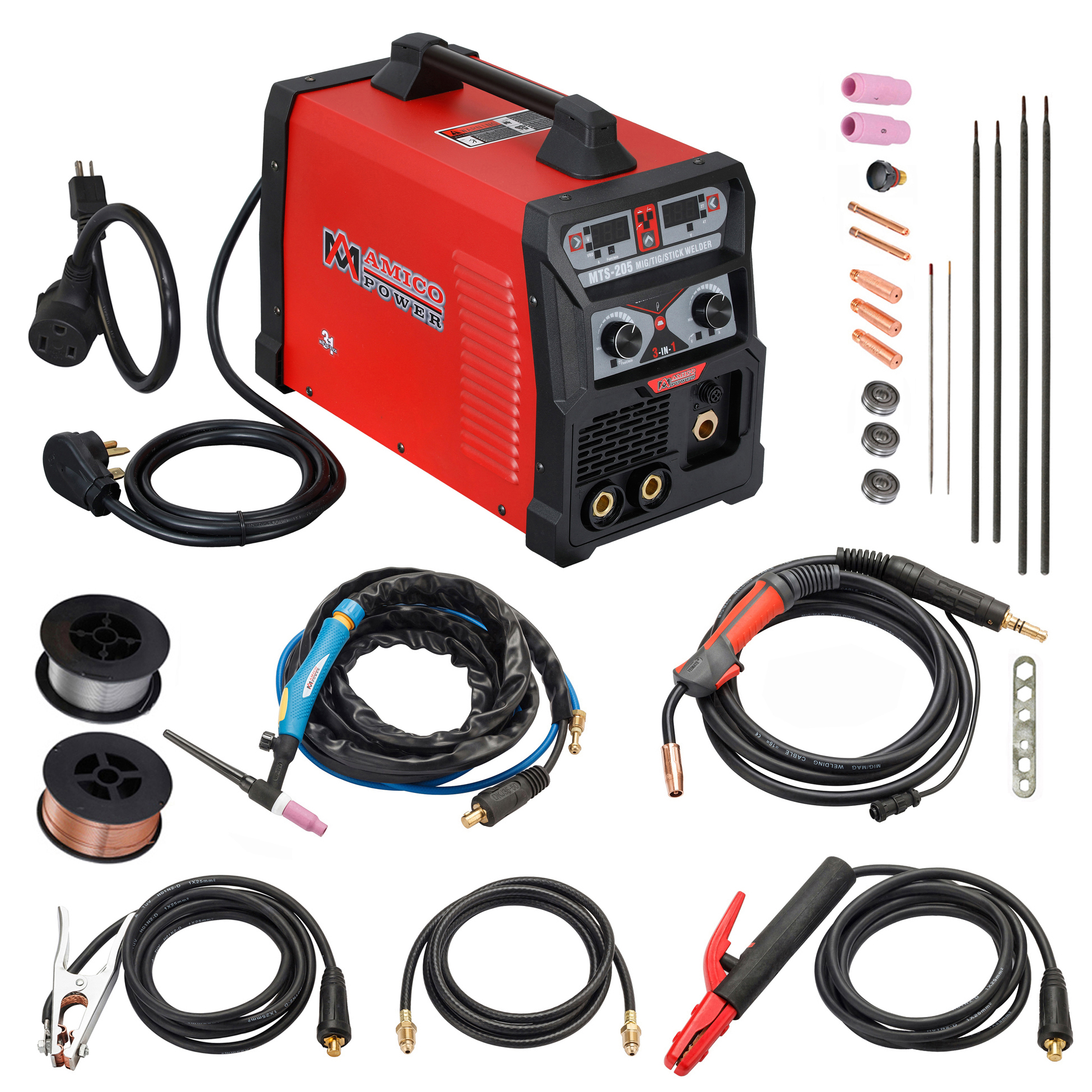 205-Amp MIG Flux Core Wire, TIG Torch Stick Arc Combo Welder, DC Inverter 3-in-1 Welding, 2T/4T 115/230V Dual Voltage, MTS-205