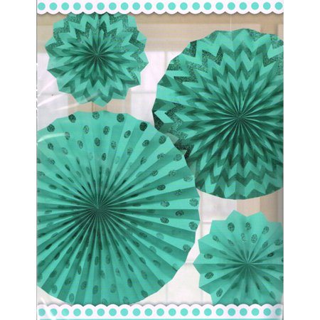 Robin's Egg Blue Glitter Printed Paper Fan Decorations - Robin's Egg