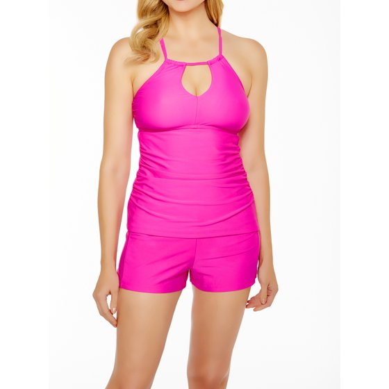 d8e81269c6e Time and Tru - Women s Full Coverage Shirred Swim Shorts - Walmart.com