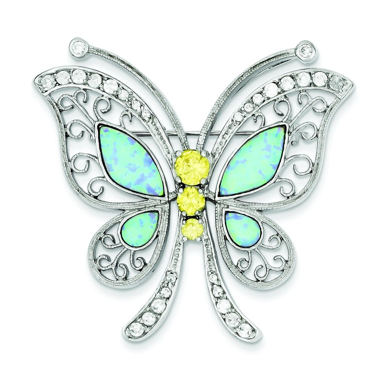SS Created Opal Yellow & White Cubic Zirconia Butterfly Pin by