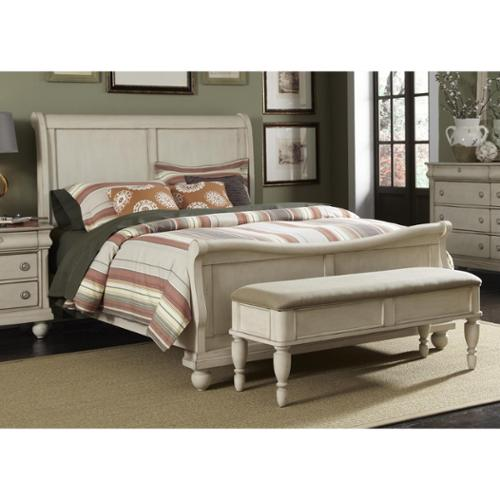 Liberty Rustic White Traditions Sleighbed Rustic White Queen Sleighbed