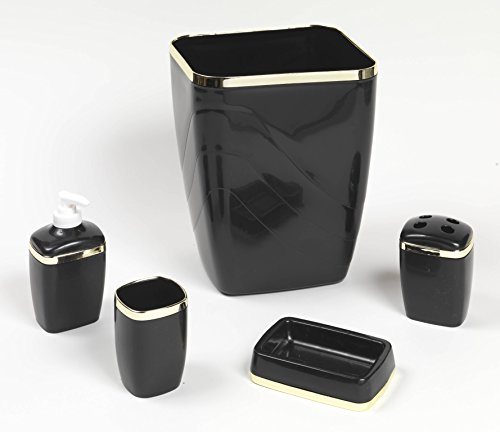 Royal Bath 5-Piece Plastic Bath Accessory Set (Black Gold) by