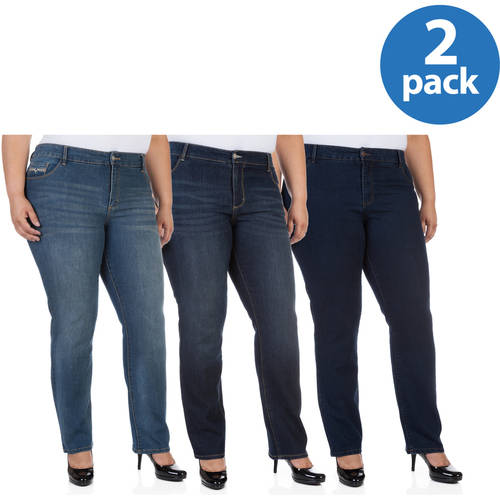 Faded Glory Women's Plus-Size Straight Jean 2 Pack Value Bundle